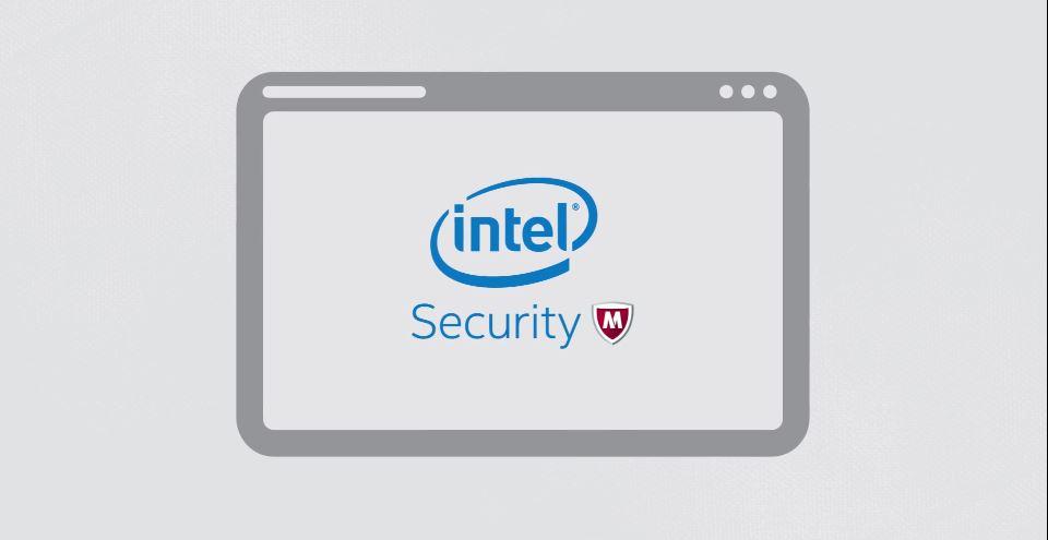 Tablett mit intel Security und McAfee-Logo