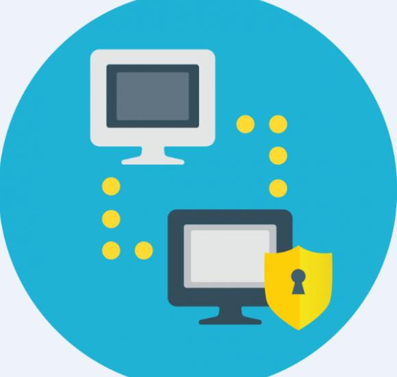 Zwei Desktops verbunden durch Punktelinien mit Zeichen Sicherheitsschlüssel