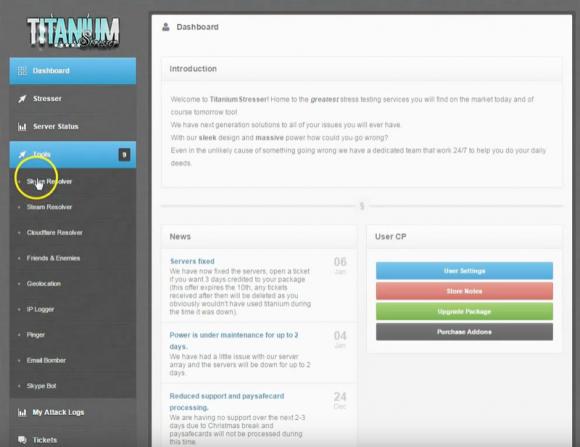 Titanium-Dashboard mit Hinweis auf Mudds TitaniumStresser-Service