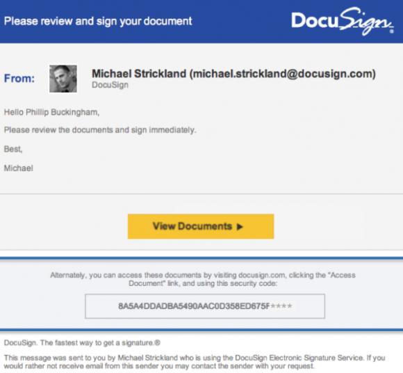Aufforderung von DocuSign Dokumente zu unterschreiben
