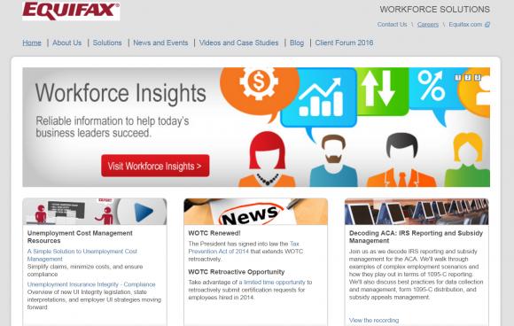 Die Homepage von Equifax