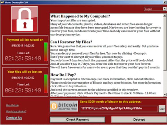 Sperrbildschirm, der zur Entsperrung verschlüsselter Dateien ein hohes Lösegeld fordert