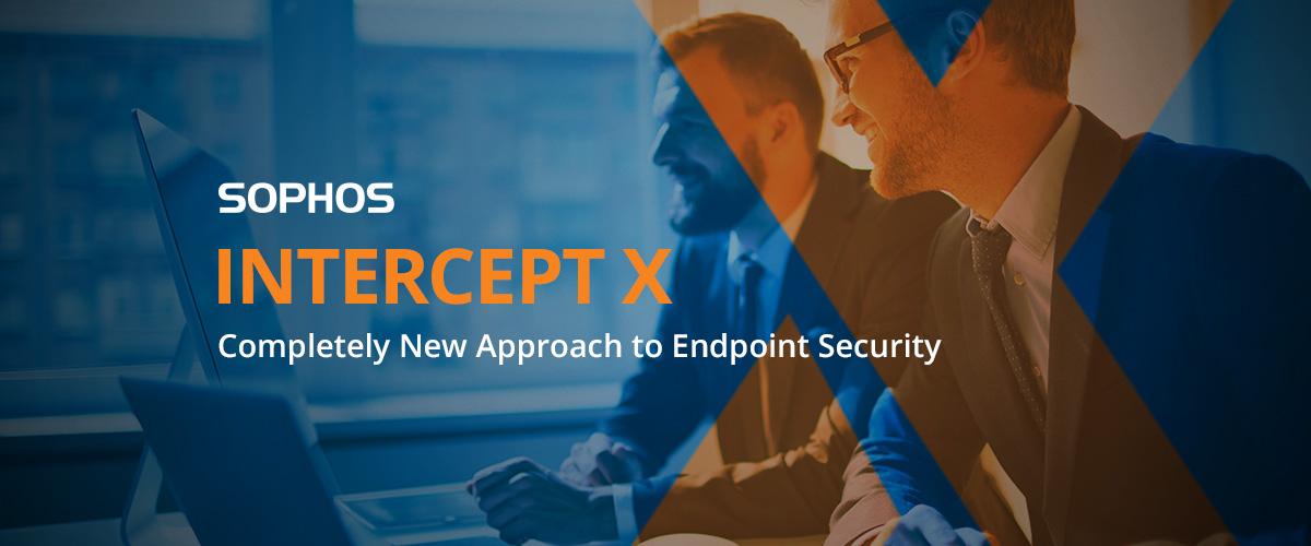 Sophos Intercept X Logo vor dem Hintergrund zweier Männer